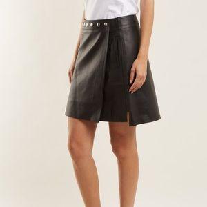 RESPA genuine leather black A-line skirt mini